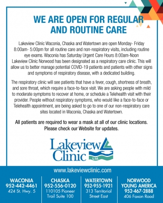 We are Open for Regular and Routine Care