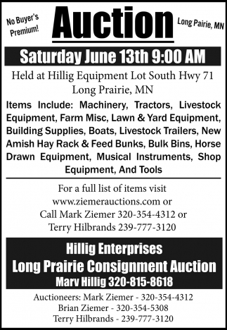 Auction Saturday June 13th