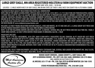 Outstanding Registered Holstein Dairy Cattle & Equipment Auction
