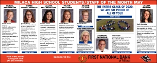 Milaca High School Students/ Staff of the Month May