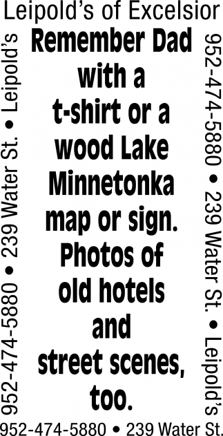 Remember Dad with a T-Shirt or a Wood Lake Minnetonka Map or Sign