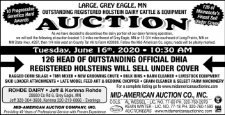 Large, Grey Eagle, MN Outstanding Registered Holstein Dairy Cattle & Equipment Auction