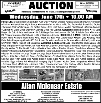 Auction Wednesday, June 17th