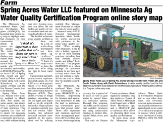 Spring Acres Water LLC Featured on Minnesota Ag Water Quality Certification Program Online Story Map