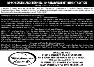 Re-Scheduled Large Henning, MN Area Ranch Retirement Auction
