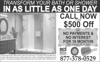 Transform You Bath or Shower in as Little as One Day