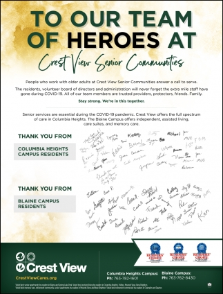 To Our Team of Heroes at Crest View Senior Communities