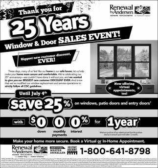 Thank You for 25 Years Window & Door Sales Event!