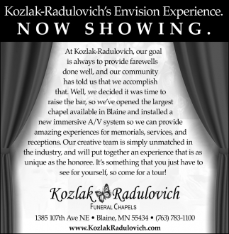 Kozlak Radulovich's Envision Experience. Now Showing.