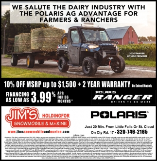 We Salute the Dairy Industry with the Polaris AG Advantage for Farmers & Ranchers