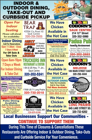 Indoor & Outdoor Dining, Take-Out and Curbside Pickup