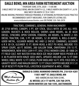 Eagle Bend, MN Area Farm Retirement Auction