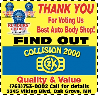 Thank You for Voting Us Best Auto Body Shop!