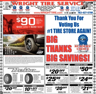 Thank You for Voting Us #1 Tire Store Again!