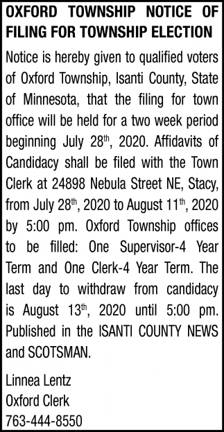 Notice of Filing for Township Election