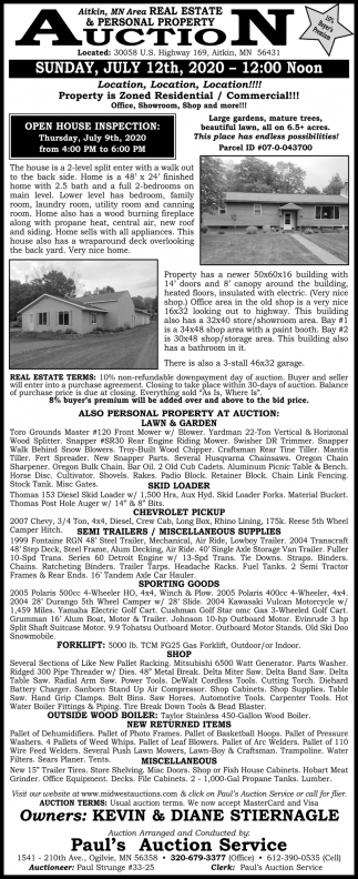 MN Area Real Estate & Personal Property Auction