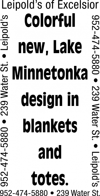 Colorful New, Lake Minnetonka Design in Blankets and Totes