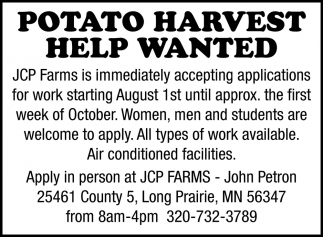 Potato Harvest Help Wanted