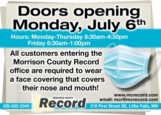 Doors Opening Monday, July 6th