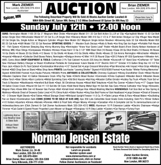 Auction Sunday July 12th