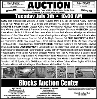 Auction Tuesday July 7th