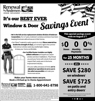It's Our Best Ever Window & Door Savings Event