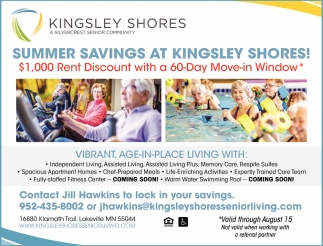 Summer Savings At Kingsley Shores!
