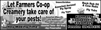 Let Farmers Co-Op Creamery Take Care of Your Pests!