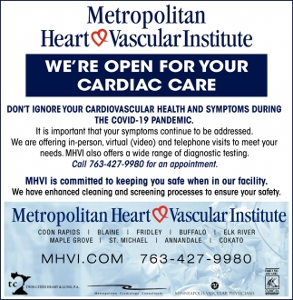 We're Open for Your Cardiac Care