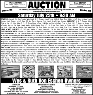 Auction Saturday July 25th