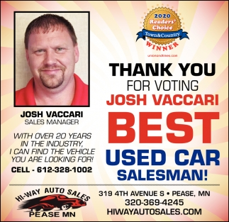Thank You for Voting Josh Vaccari Best Used Car Salesman!