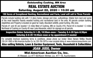 Outstanding Cushing, MN Area Real Estate Auction