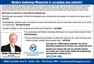 Modern Audiology Minnesota is Accepting New Patients!