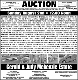 Auction Sunday August 2nd