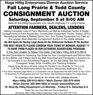 Fall Long Prairie & Todd County Consignment Auction