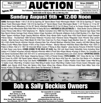 Auction Sunday August 9th