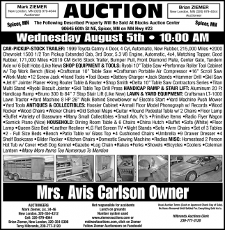Auction Wednesday August 5th