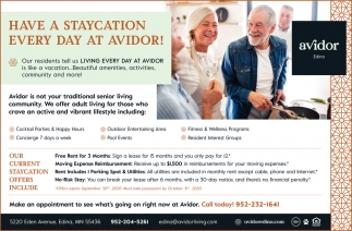 Have a Staycation Every Day at Avidor!