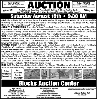 Auction Saturday August 15th
