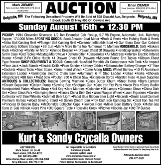 Auction Sunday August 16th