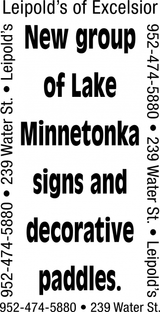 New Group of Lake Minnetonka Signs and Decorative Paddles