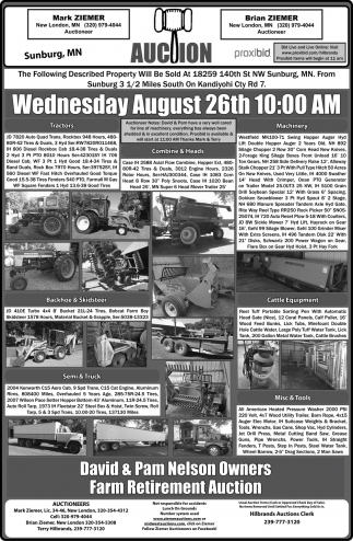 Auction Wednesday August 26th