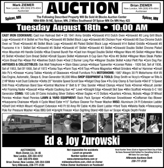 Auction Tuesday August 18th