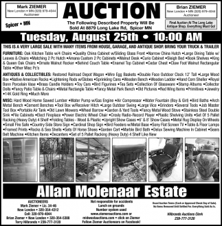 Auction Tuesday August 25th