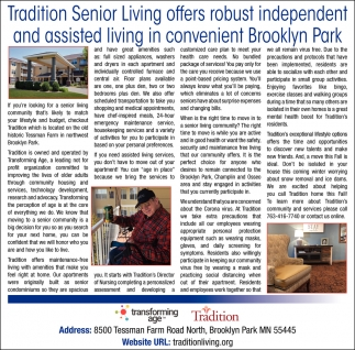 Tradition Senior Living Offers Robust Independent and Assisted Living in Convenient Brooklyn Park