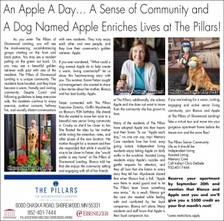 An Apple a Day... A Sense of Community and a Dog Named Apple Enriches Lives at The Pillars!
