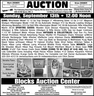 Auction Sunday, September 13th