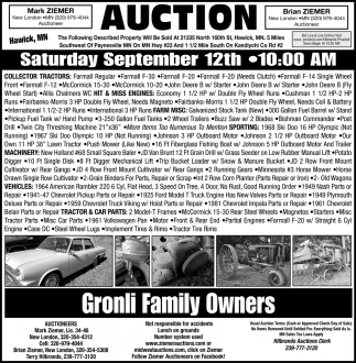 Auction Saturday September 12th