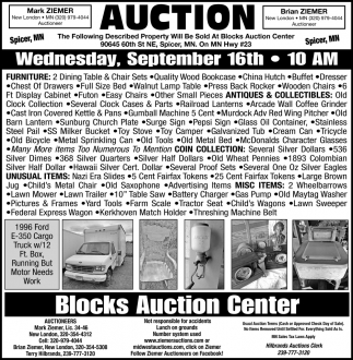 Auction Wednesday, September 16th