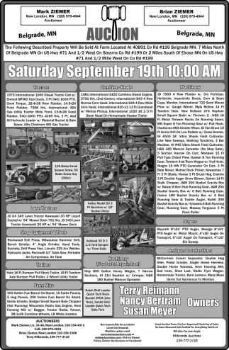 Auction Saturday September 19th